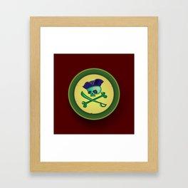 green pirate skull Framed Art Print