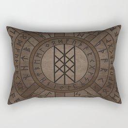 Web of Wyrd The Matrix of Fate- Wooden Texture Rectangular Pillow