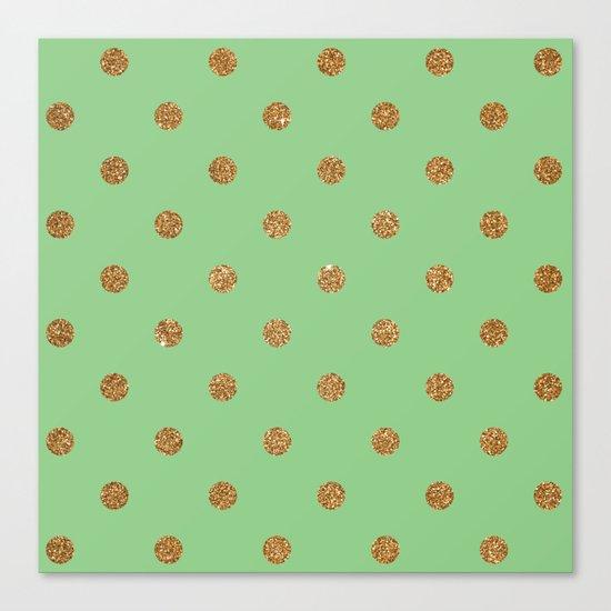 Sea Green Gold Glitter Dots Canvas Print