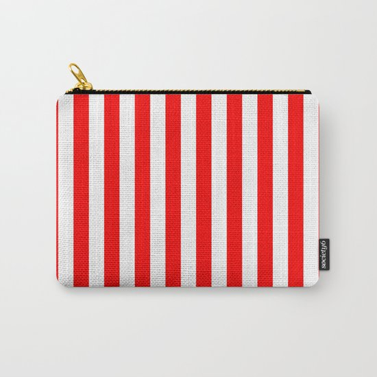 Vertical Stripes (Red/White) Carry-All Pouch