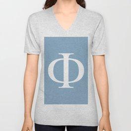 Greek letter Phi sign on placid blue background Unisex V-Neck