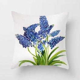 Watercolour Grape Hyacinth Throw Pillow