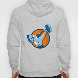 Weightlifter Swinging Barbell Back View Circle Retro Hoody