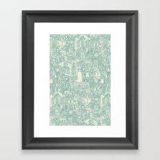 vintage halloween teal ivory Framed Art Print