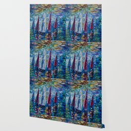 Sails To-night oil painting with Palette Knife Wallpaper