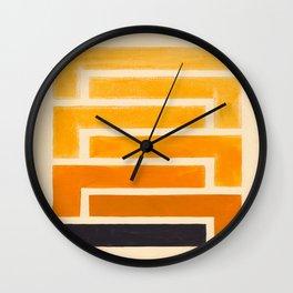 Yellow Ocher Mid Century Pattern Wall Clock