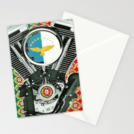 Portuguese Flag Biker Collage Stationery Cards