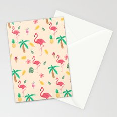 Summer pink watercolor tropical flamingo floral Stationery Cards