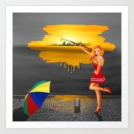 An artist paints his life colorful Art Print