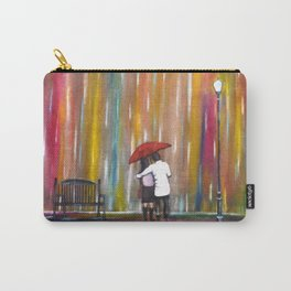 Love in the Rain romantic painting by Manjiri Kanvinde Carry-All Pouch