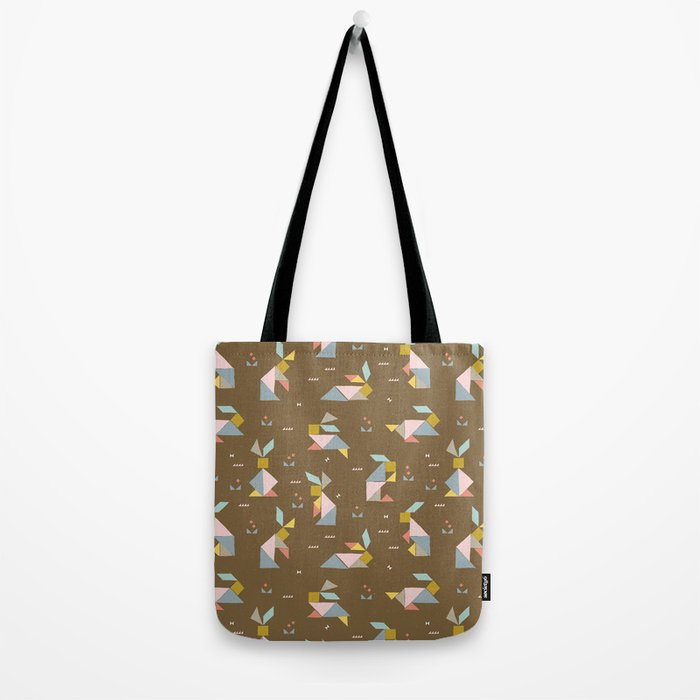 Tangram Bunnies M+M Nutmeg by Friztin Tote Bag