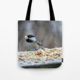 Hungry Chickadee Tote Bag