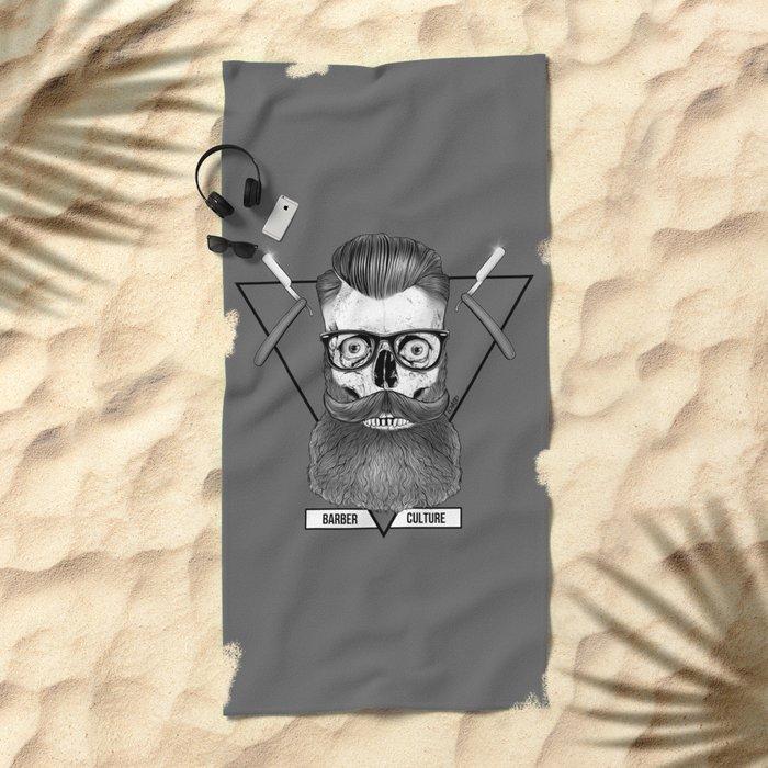 Bearded Skull Beach Towel