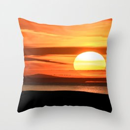 Isle of Anglesey View of Ireland Mountains Sunset Throw Pillow