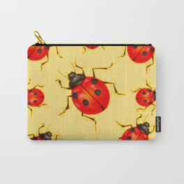 CREAMY YELLOW ART  RED LADY BUGS  DESIGN Carry-All Pouch