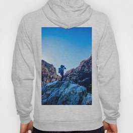 Boys Adventure | Rustic Camping Kid Red Rocks Climbing Explorer Blue Landscape Nursery Photograph Hoody