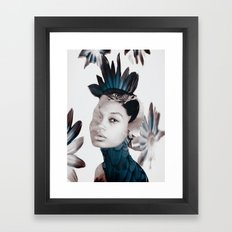 Parrot woman Framed Art Print