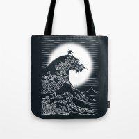 airbender Tote Bags featuring Waterbending by Tobe Fonseca
