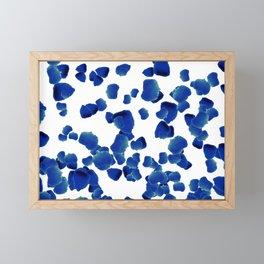 Rising blue petals of roses on white background. Framed Mini Art Print