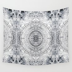 Black&white Mandala - & Grey Blue Wall Tapestry