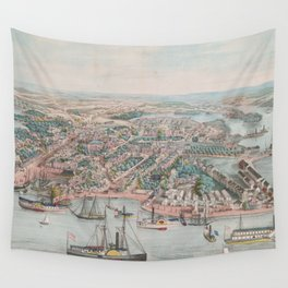 Vintage Pictorial Map of Annapolis MD (1864) Wall Tapestry