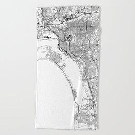 San Diego White Map Beach Towel