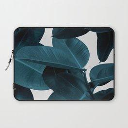 Indigo Blue Plant Leaves Laptop Sleeve