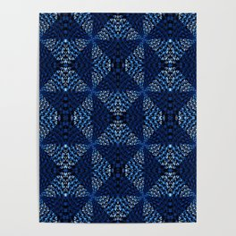 Indigo Blues Geometric Magic Quilt Print Poster