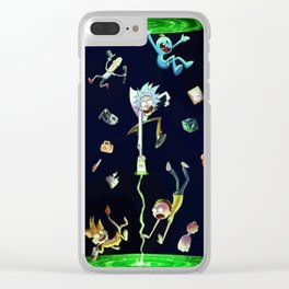 Rick & Morty fall in a portal Clear iPhone Case