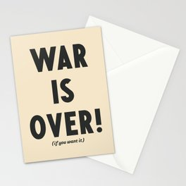 War is over, if you want it, peace message, vintage illustration, anti-war, Happy Xmas, song quote Stationery Cards