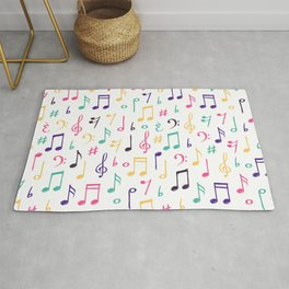 Colorful Music Notes Pattern Rug
