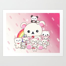 My kawaii family Art Print