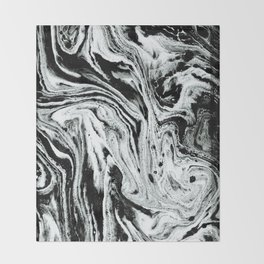 marble black and white minimal suminagashi japanese spilled ink abstract art Throw Blanket