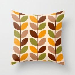 Retro 70s geometric leaves branches brown orange Throw Pillow
