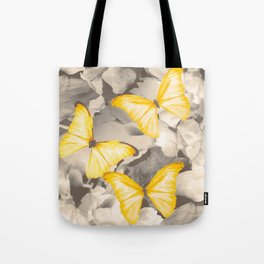 Yellow Butterflies on Dark Floral Background #decor #society6 #buyart Tote Bag