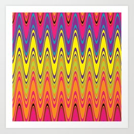 Vintage neon pink yellow green retro waves pattern Art Print