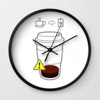coffe Wall Clocks featuring Warning coffe low by Komrod