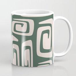 Mid Century Modern Cosmic Abstract 513 Green and Beige Coffee Mug