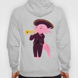 Axolotl with mariachi costume playing the trumpet, Digital Art illustration Hoody