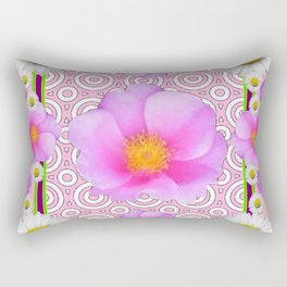 Pink on Pink Rose & Shasta Daisies Floral Abstract Rectangular Pillow