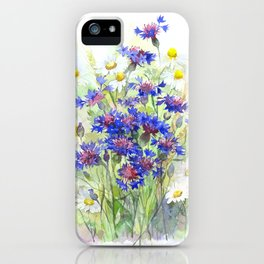Meadow watercolor flowers with cornflowers iPhone Case