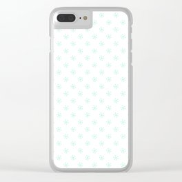 Magic Mint Green on White Snowflakes Clear iPhone Case