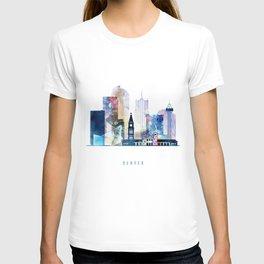 Denver colorful watercolor skyline, Colorado cityscape T-shirt