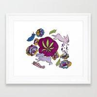 cannabis Framed Art Prints featuring Cannabis Bunnies by Ri 13