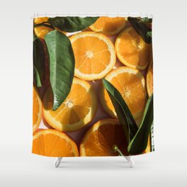 Orange Fruit Pattern Photography Shower Curtain