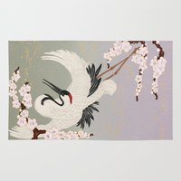 crane Area & Throw Rugs featuring Japanese Crane by Luna Kirsche