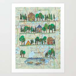 "Eagle River, WI ""Up North""Continuous Line Drawing on vintage map Art Print"