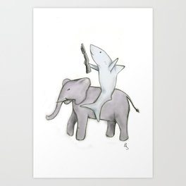 Shark with a Shotgun and the Elephant Art Print