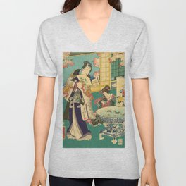 Spring Outing In A Villa Diptych #1 by Toyohara Kunichika Unisex V-Neck