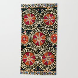 Katti Kurgan Suzani Uzbekistan Embroidery Print Beach Towel